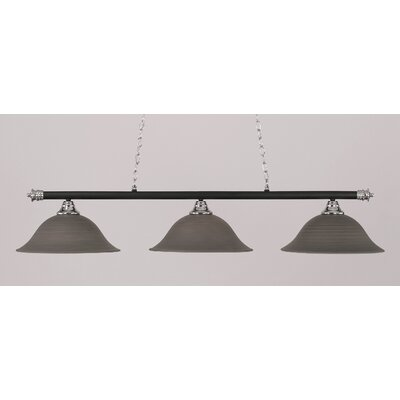Passabe 3-Light Billiard Light Finish: Chrome and Matte Black, Shade Color: Gray