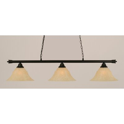 Oxford 3-Light Billiard Light Finish: Matte Black, Shade Color: Amber, Size: 11.25 H x 56 W