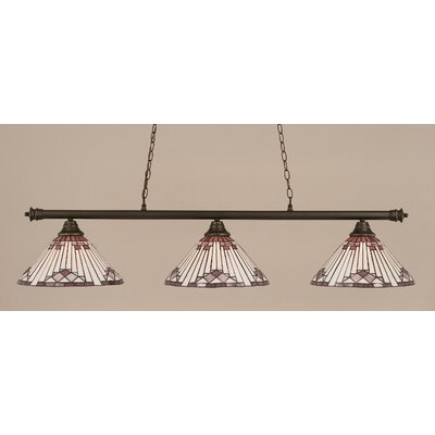 Passabe 3-Light Sunray Tiffany Shade Billiard Light Finish: Dark Granite, Shade Color: Purple