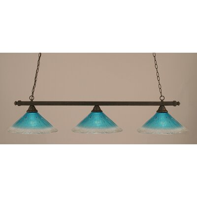 3-Light Billiard Light Finish: Dark Granite, Shade Color: Teal