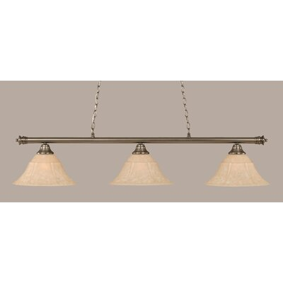 Oxford 3-Light Billiard Light Shade Color: Amber, Size: 12 H x 54 W, Finish: Brushed Nickel