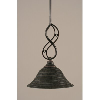 Jazz Mini Pendant With Hang Straight Swivel Finish: Black Copper, Shade Color: Charcoal Spiral Glass, Size: 10 W