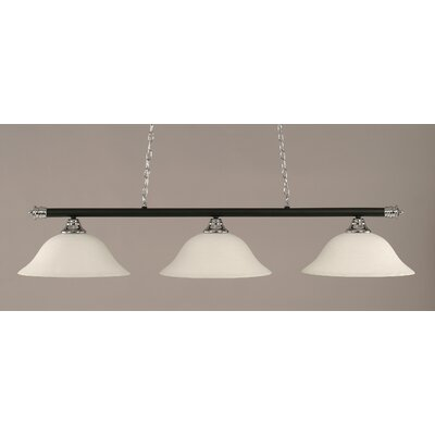Oxford 3-Light Billiard Light Shade Color: White, Finish: Chrome and Matte Black