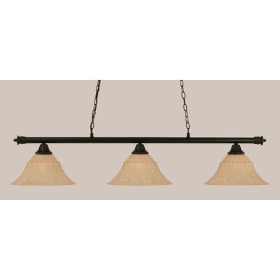 Oxford 3-Light Billiard Light Size: 12 H x 54 W, Finish: Matte Black
