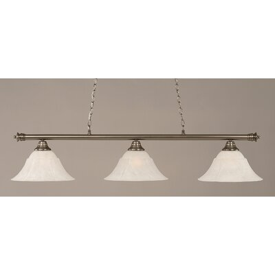 Oxford 3-Light Billiard Light Shade Color: White, Size: 12 H x 54 W, Finish: Brushed Nickel