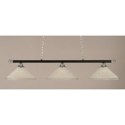 Oxford 3-Light Billiard Light Finish: Chrome and Matte Black, Shade Color: Frosted