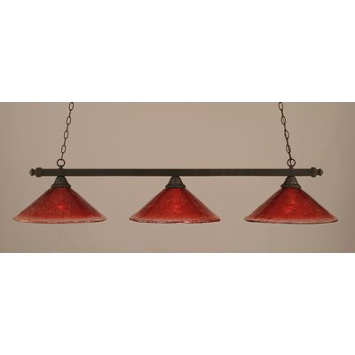 3-Light Billiard Light Finish: Dark Granite, Shade Color: Raspberry