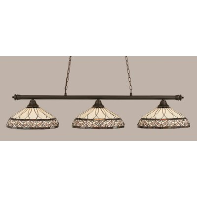 Passabe 3-Light Royal Merlot Tiffany Shade Billiard Light Finish: Dark Granite