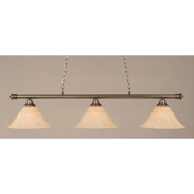 Oxford 3-Light Billiard Light Size: 12 H x 54 W, Finish: Brushed Nickel