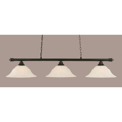 Oxford 3-Light Billiard Light Finish: Matte Black, Shade Color: White, Size: 11.25 H x 56 W
