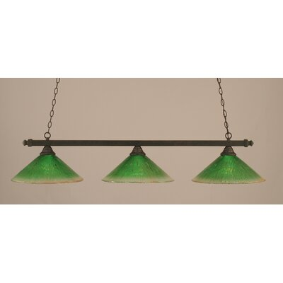 3-Light Billiard Light Finish: Dark Granite, Shade Color: Kiwi Green