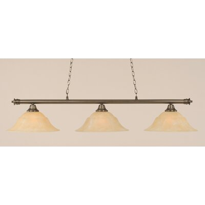 Oxford 3-Light Billiard Light Finish: Brushed Nickel, Shade Color: Amber, Size: 11.25 H x 56 W