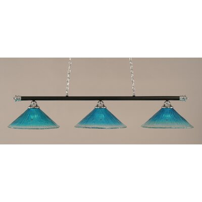 Oxford 3-Light Billiard Light Shade Color: Teal, Finish: Chrome and Matte Black