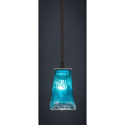 Apollo 1-Light Stem Mini Pendant With Hang Straight Swivel Finish: Dark Granite, Shade Color: Teal