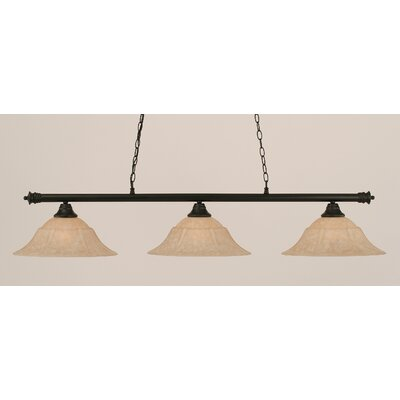 Oxford 3-Light Billiard Light Size: 11.25 H x 55.75 W, Finish: Matte Black