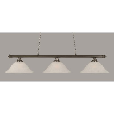 Oxford 3-Light Billiard Light Finish: Brushed Nickel, Shade Color: White, Size: 11.25 H x 56 W