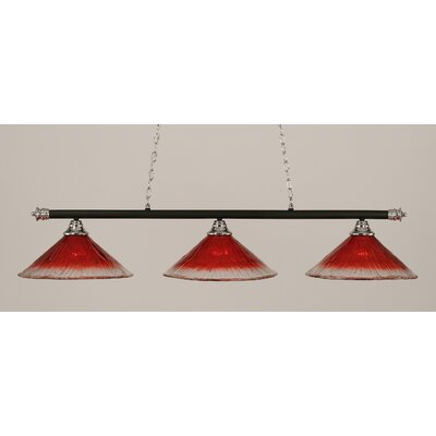 Oxford 3-Light Billiard Light Finish: Chrome and Matte Black, Shade Color: Raspberry