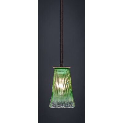 Apollo 1-Light Stem Mini Pendant With Hang Straight Swivel Finish: Dark Granite, Shade Color: Kiwi Green