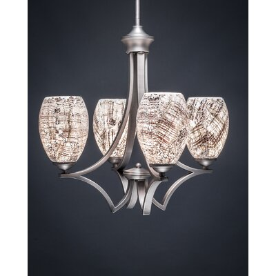 Zilo 4-Light Shaded Chandelier Shade Color: Natural, Finish: Graphite