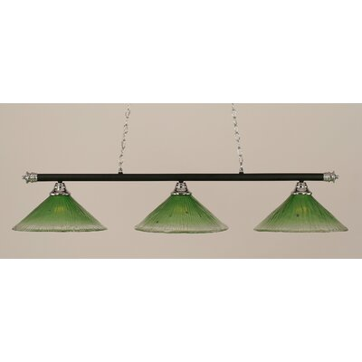 Oxford 3-Light Billiard Light Finish: Chrome and Matte Black, Shade Color: Kiwi Green