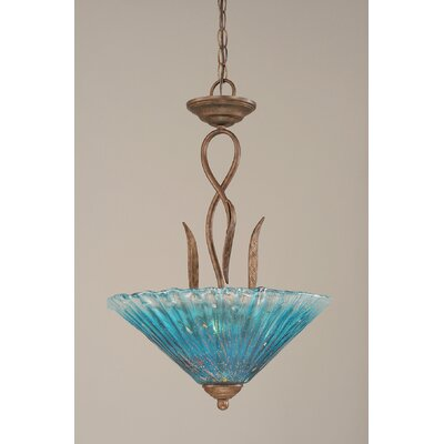Leaf 3-Light Inverted Pendant Glass Color: Teal Crystal