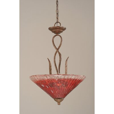Leaf 3-Light Inverted Pendant Shade Color: Raspberry