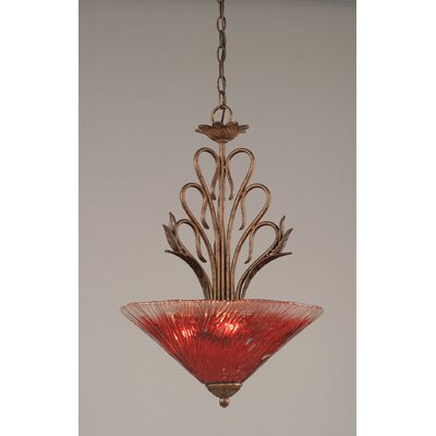 Swan 3-Light Inverted Pendant Shade Color: Raspberry