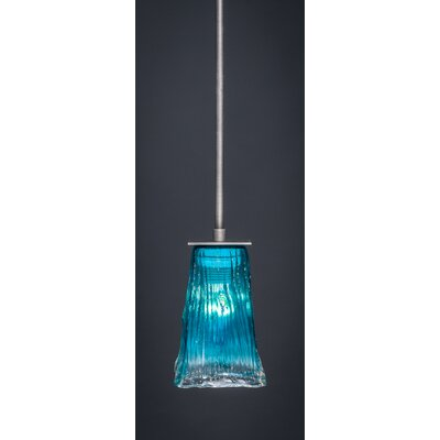 Apollo 1-Light Stem Mini Pendant With Hang Straight Swivel Finish: Graphite, Shade Color: Teal