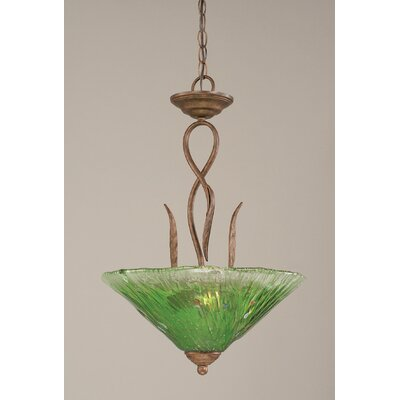 Leaf 3-Light Inverted Pendant Shade Color: Kiwi Green