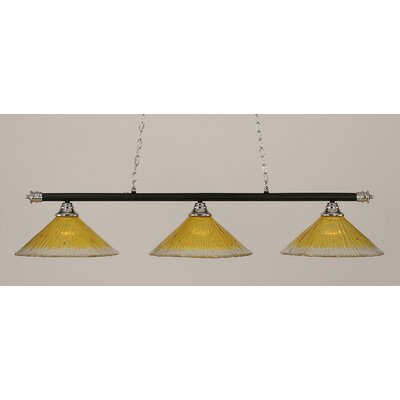 Oxford 3-Light Billiard Light Shade Color: Gold Champagne, Finish: Chrome and Matte Black