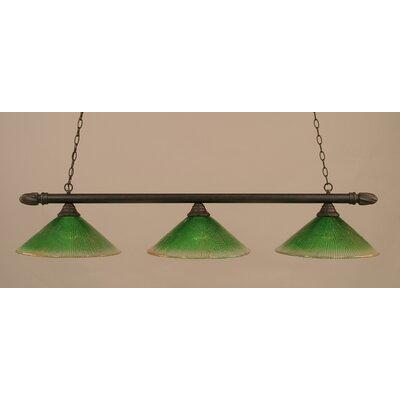 3-Light Pool Table Light Finish: Dark Granite, Shade Color: Kiwi Green