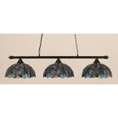 Passabe 3-Light Mosaic Tiffany Shade Billiard Light Finish: Matte Black