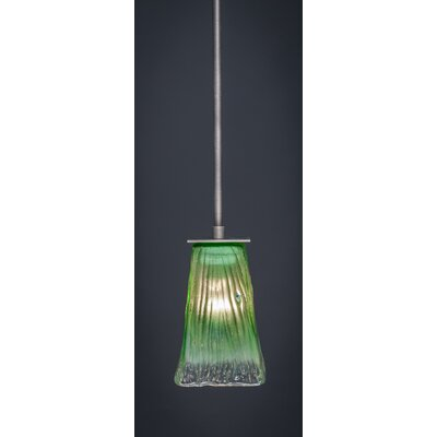 Apollo 1-Light Stem Mini Pendant With Hang Straight Swivel Finish: Graphite, Shade Color: Kiwi Green