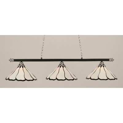Oxford 3-Light Billiard Light Shade Color: Pearl, Finish: Chrome and Matte Black