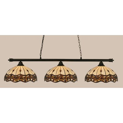 Passabe 3-Light Jewel Tiffany Shade Billiard Light Finish: Matte Black