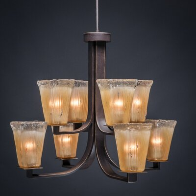 Blau 8-Light Dark Granite Shaded Chandelier Shade Color: Amber