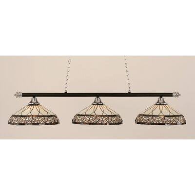 Passabe 3-Light Royal Merlot Tiffany Shade Billiard Light Finish: Chrome and Matte Black