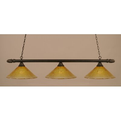 3-Light Pool Table Light Finish: Dark Granite, Shade Color: Gold Champagne