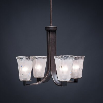 Blau 4-Light Crystal Glass Shaded Chandelier Shade Color: Frosted