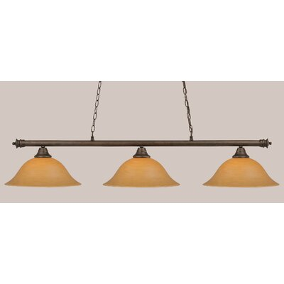 Passabe 3-Light Billiard Light Finish: Dark Granite, Shade Color: Gray