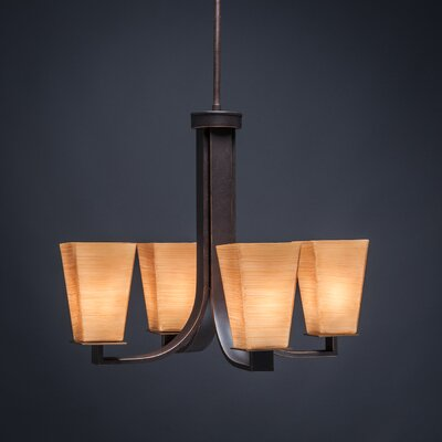 Apollo 4-Light Shaded Chandelier Shade Color: Cayenne