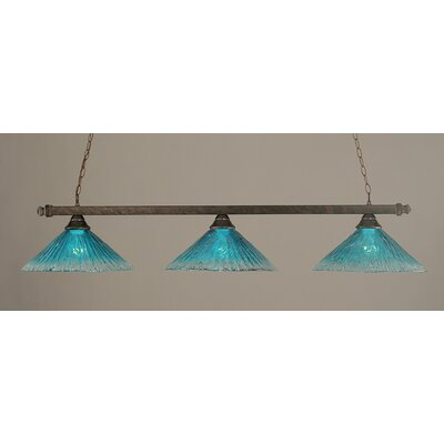 3-Light Billiard Light Finish: Bronze, Shade Color: Teal