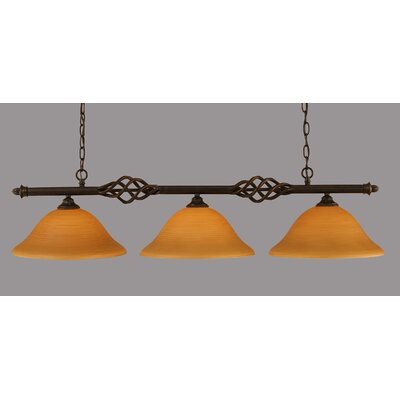 Elegante 3-Light Kitchen Island Pendant Shade Color: Cayenne