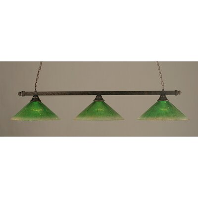 3-Light Billiard Light Finish: Bronze, Shade Color: Kiwi Green