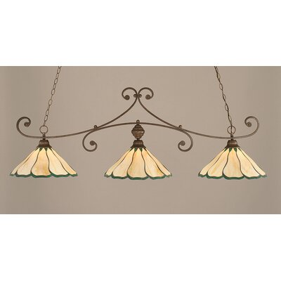 Marylin 3-Light Billiard Light Finish: Bronze, Shade Color: Honey and Hunter Green