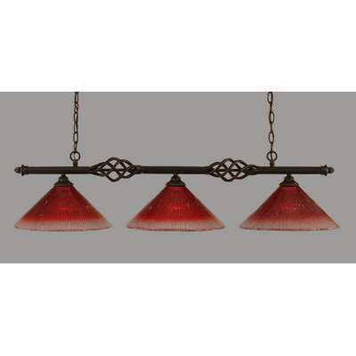Elegante 3-Light Kitchen Island Pendant Shade Color: Raspberry