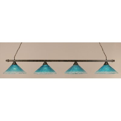 4-Light Pool Table Light Shade Color: Teal