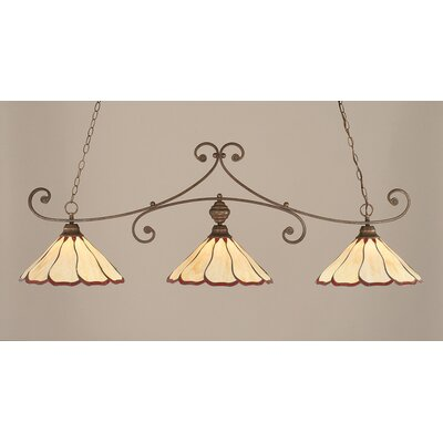 Marylin 3-Light Billiard Light Finish: Bronze, Shade Color: Honey and Burgundy