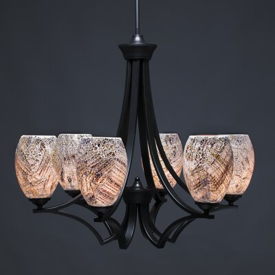 Zilo 6-Light Shaded Chandelier Shade Color: Natural, Finish: Matte Black