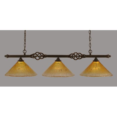 Elegante 3-Light Kitchen Island Pendant Shade Color: Gold Champagne
